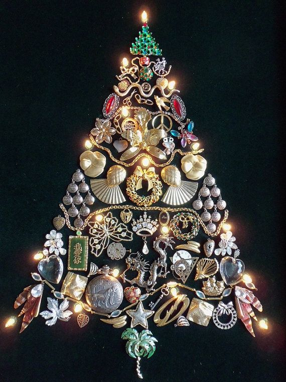 Vintage Lighted Jewelry Tree - Framed Christmas Picture, Rhinestones 18x23
