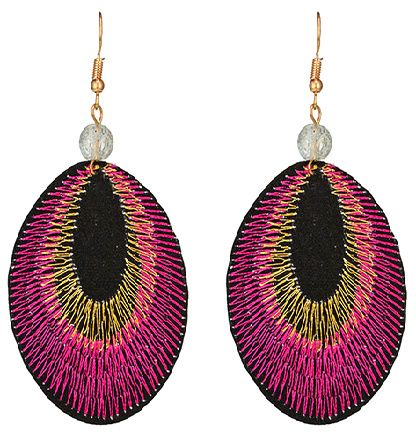 Oorbellen paars/roze gevlochten hanger