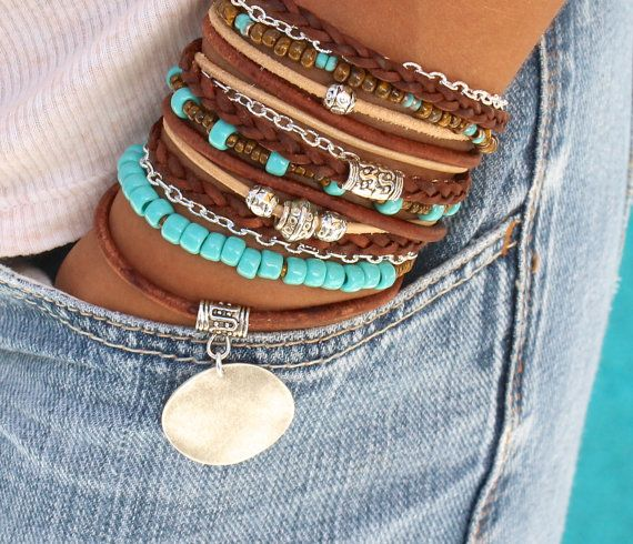 Boho LEATHER Wrap Bracelet - Pick SIZE - Toho Leather Gypsy Bohemian Triple Wrap Bracelet - Tibetan Accents - Stamp Disc Charm - Usa - 805