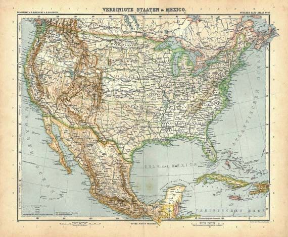 1914 United States and Mexico Vintage Map by CarambasVintage, $25.00