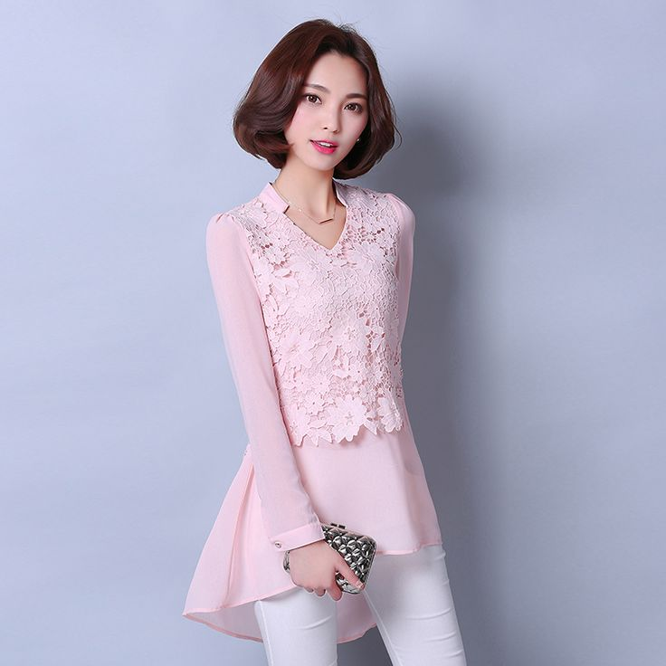 2016 женская мода блузки топы v образным вырезом с длинными рукавами шифон блузки белые кружева блузка женщины футболки плюс размер купить на AliExpress