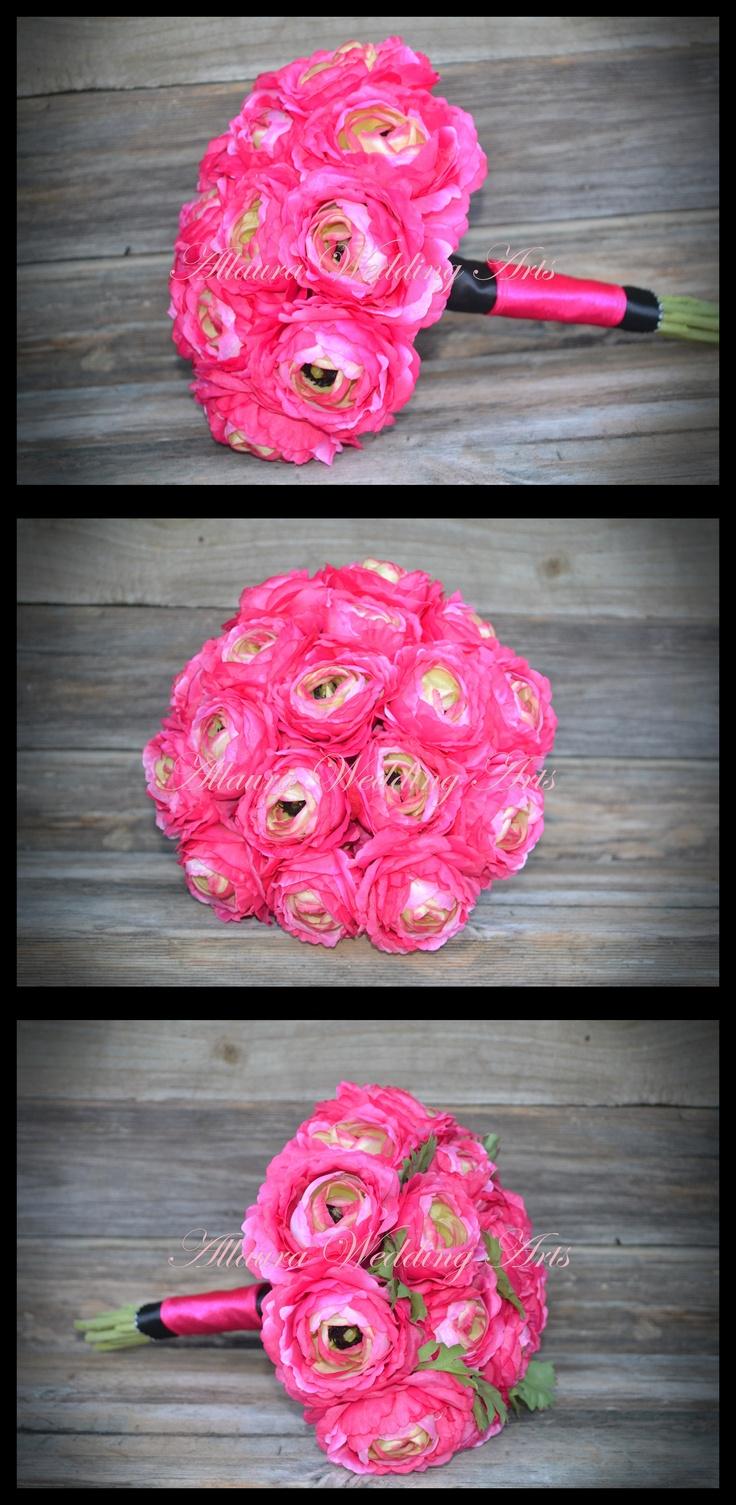 Medium Pink Ranuculus Bouquet measures approx 23-25cm. $80   Your Choice of handle wrap   http://www.allauraweddingarts.com.au/