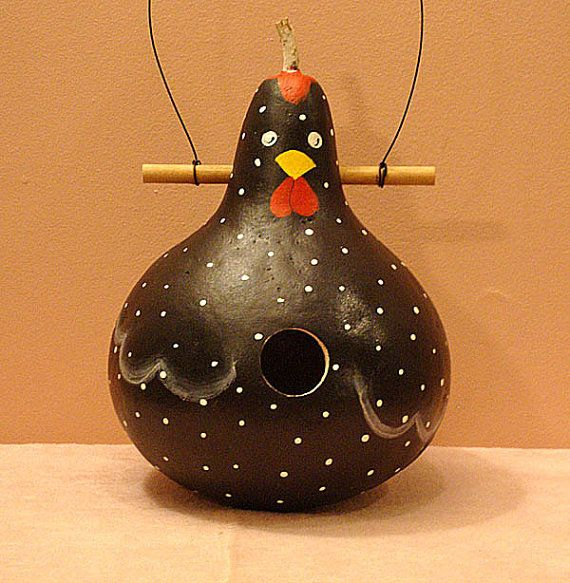 Black Rooster Gourd Birdhouse Handpainted by KaydeeCountryCottage