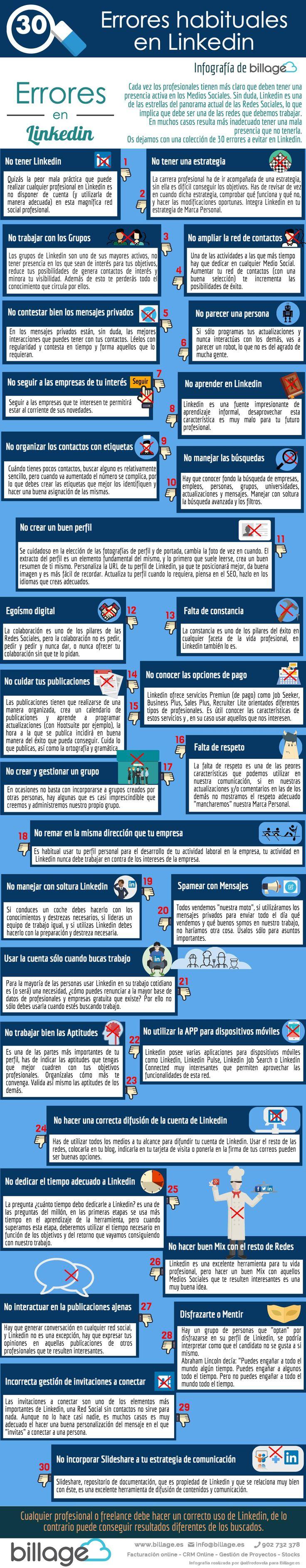 30 errores a evitar en Linkedin #infografia