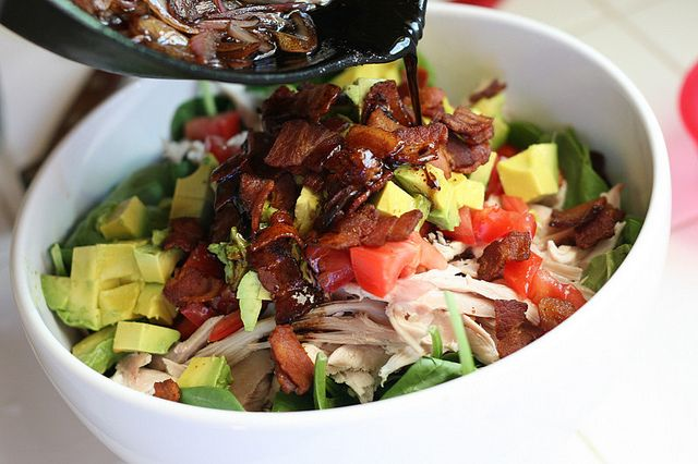 BLT Chicken Salad with Warm Bacon Dressing