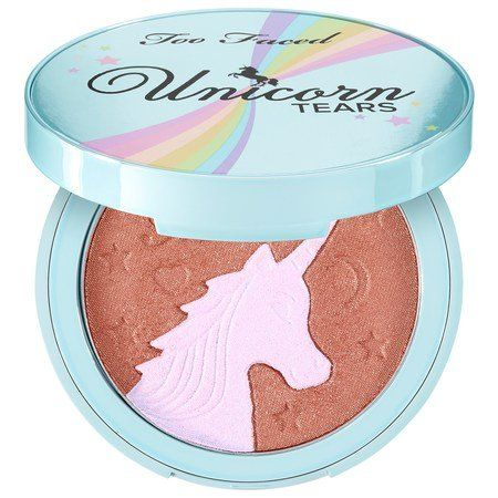 TOO FACED Unicorn Tears Bronzer – Life's A Festival Collection: A two-in-one satin bronzer with a unicorn-shaped, holographic highlighter incorporated into the design, and infused with Too Faced's signature Festival scent. #Festival