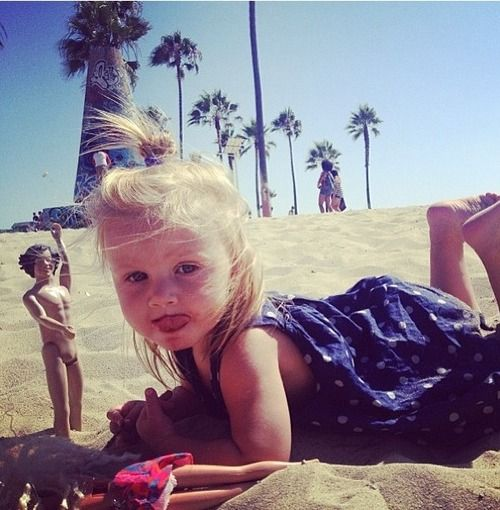 Lux in LA...With a naked Harry doll <<< the fact that Lux has her own Harry doll makes my heart hurt