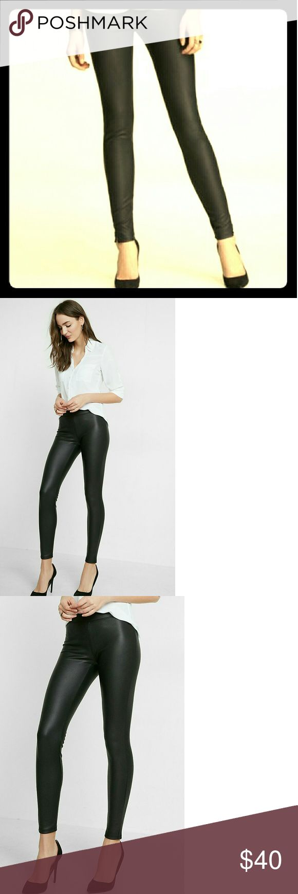 Express Scuba (Faux Leather) Leggings - NWT! Express Scuba Leggings in Pitch Black! Brand new with tags and still in the packaging sent directly from Express!   Rock out the leather-like texture and luster of curve-hugging scuba. Legging looks don't get any sexier or sleeker than this! Easy to dress up for a night out or pair with a t-shirt for a more casual day look.   Size: Medium Color: Pitch Black Express Pants Leggings