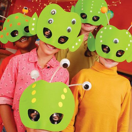 These creatures come in peace! As party guests arrive, let them launch right into action with a mask-making project. We created ours with glow-in-the-dark craft foam and stickers so we could dim the lights and... **For more birthday party craft ideas visit http://www.partycanada.blogspot.com