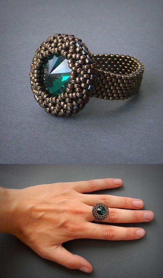 Beaded Swarovski seed bead ring swarovski jewelry by Anabel27shop