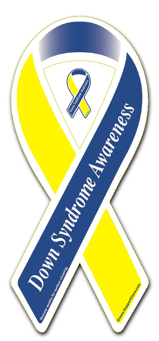 "Buy our Down Syndrome Awareness Ribbon Magnet. Our Ribbon Car Magnet  is manufactured and printed in the USA. We print on premium quality, super-thick (.030) magnetic material with UV protected inks. Magnet measures 3.5"" x 8"".  Be sure to remove, clean and reposition your magnet weekly.The part inside the loop can stay in place or you can snap it out for a second smaller magnet."