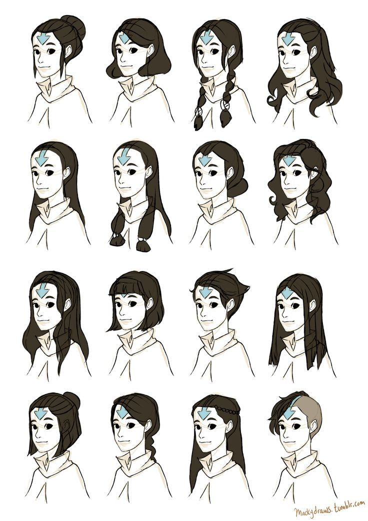 Female airbender hairstyle ideas! - Macky Draws!