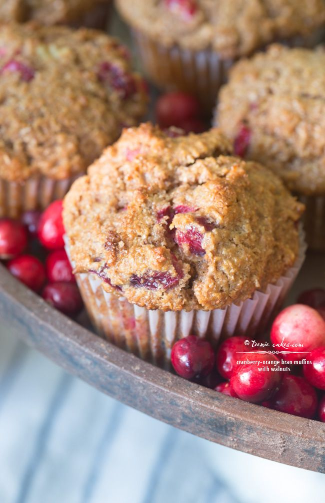 Perfectly seasonal Cranberry-Orange Bran Muffins with Walnuts @teeniecakes