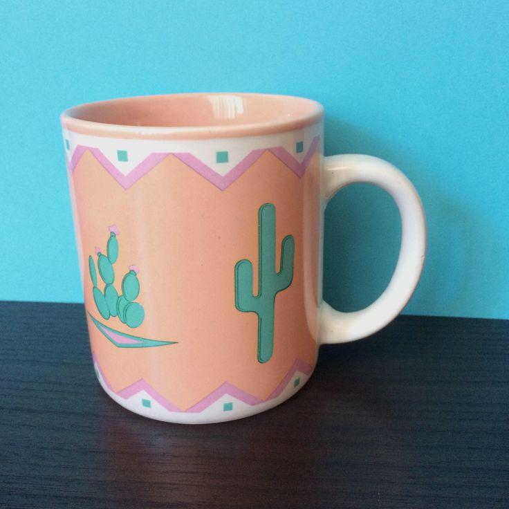 Cactus Mug, Southwestern Mug, Arizona Desert Mug, Cactus Decor, Vintage Coral Mug, Cactus Lover, Cacti Mug, Boho Eclectic Decor, Retro Mug by TheLastFlamingo on Etsy https://www.etsy.com/listing/527821324/cactus-mug-southwestern-mug-arizona