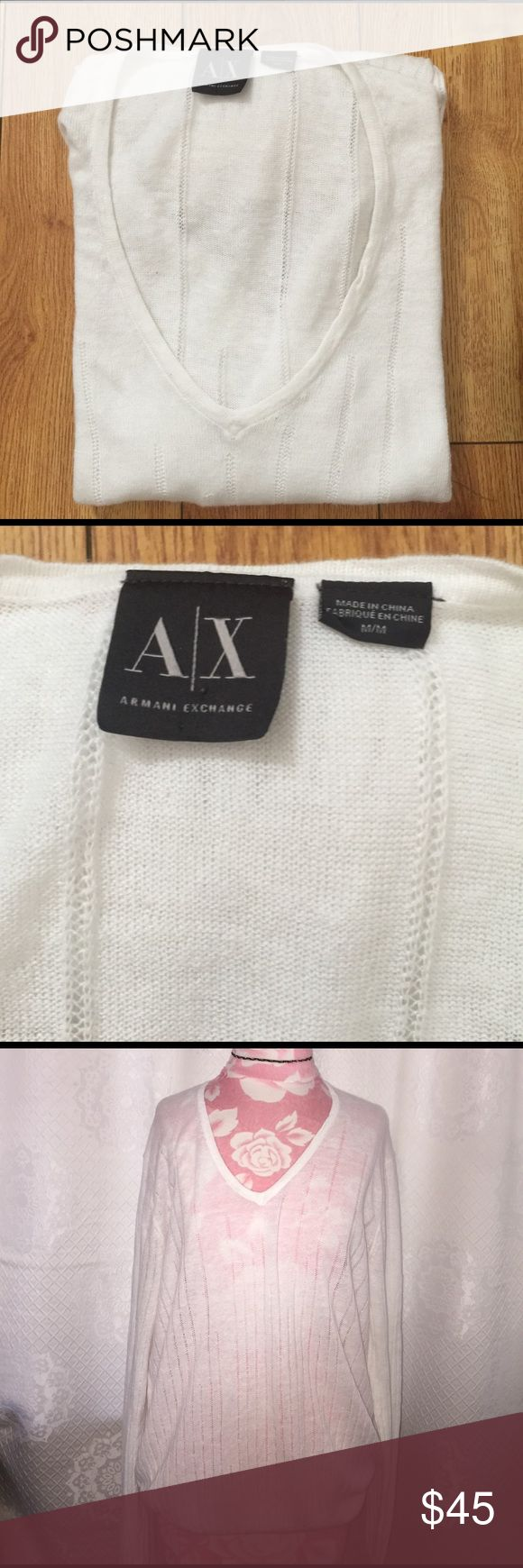 Armani Exchange White V neck long sleeve top M Armani Exchange long sleeve v neck white sweater/top M. Light fabric, will look great with jeans and your favorite heels. Perfect spring/summer top, lightly knit style. No stains, rips or holes. BUNDLE & SAVE 15% ❌ TRADES ❌ • 1131417 • A/X Armani Exchange Tops Sweatshirts & Hoodies