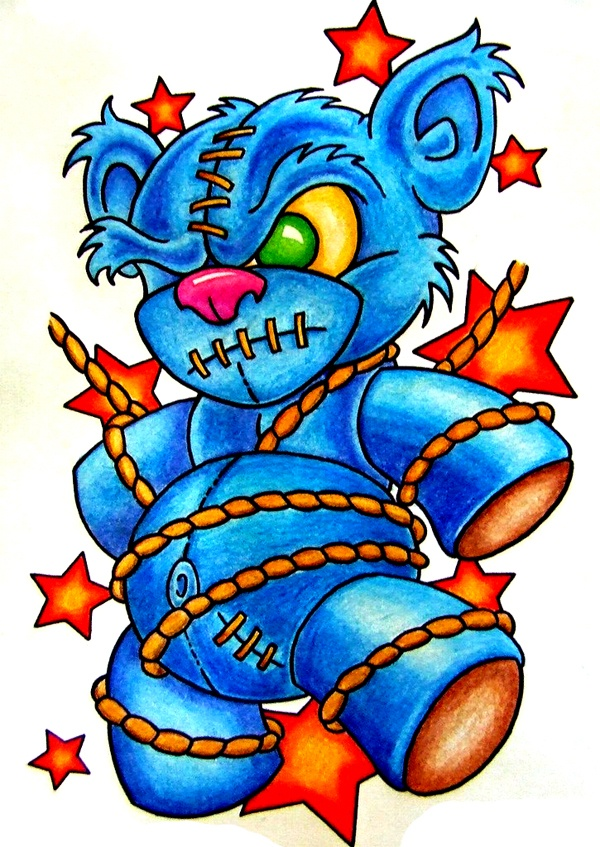 Cool new school teddy bear tattoo flash
