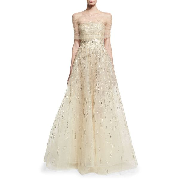 Oscar de la Renta Illusion Embellished Gown, Beige and Matching Items ❤ liked on Polyvore featuring dresses, gowns, white dress, white gown, embelished dress, oscar de la renta and white ball gowns