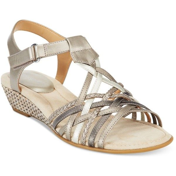 Easy Spirit Malawi Wedge Sandals (£49) ❤ liked on Polyvore featuring shoes, sandals, light gold multi, low wedge shoes, easy spirit sandals, wedge sandals, wedge heel shoes en low heel wedge shoes