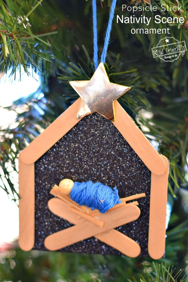 Popsicle Stick Nativity Ornament Craft Kid Friendly Things To Do Kids Ornaments Diy Christmas Ornaments Nativity Crafts