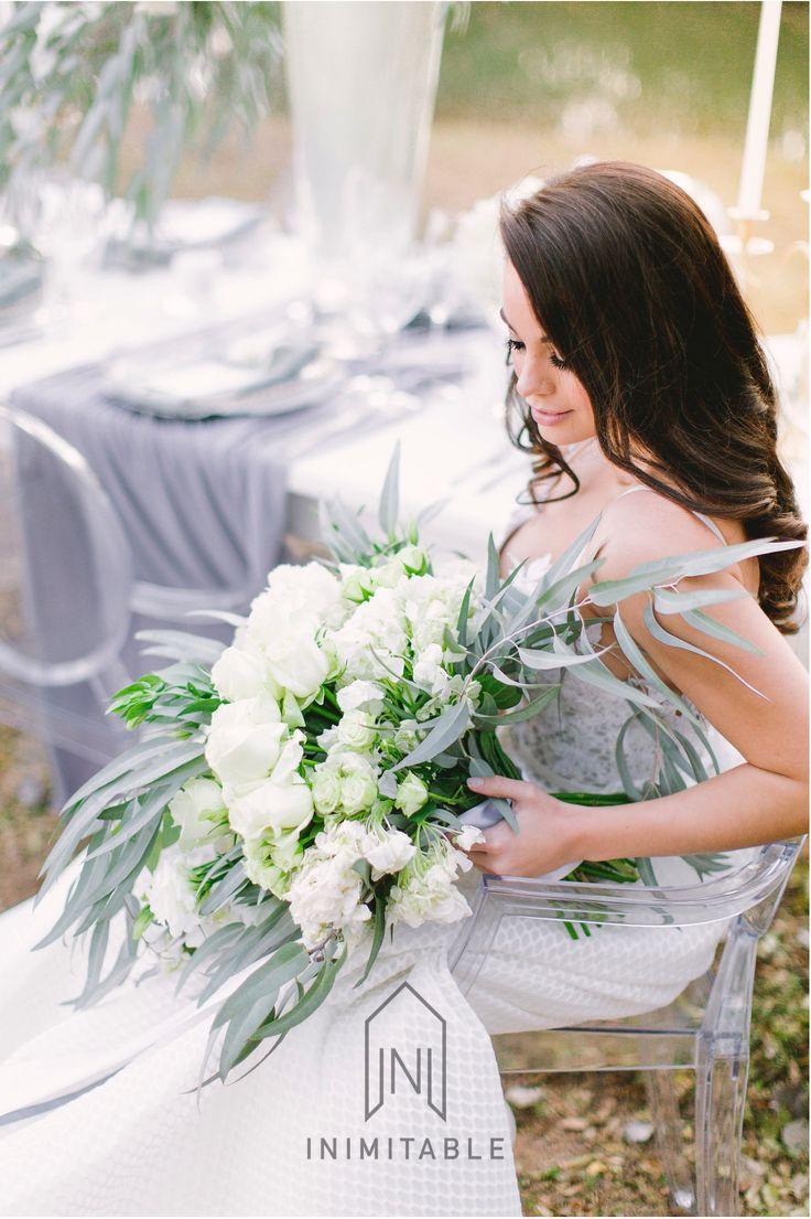 STUNNING bouquet for an incredible wedding day!  Photography: @genevieve_fundaro  Hair and Make-up: @refinerythe  Dress: @calegrabridal  Floral Design: @zavionkotzeeventscompany  Venue: @inimitable_wv   #luxury #luxuryvenue #luxeweddings #luxewedding #flowerwall #allwhite #bride #bridal #floraldesign #bouquet best wedding ever, green, white, flowers, floral decor décor
