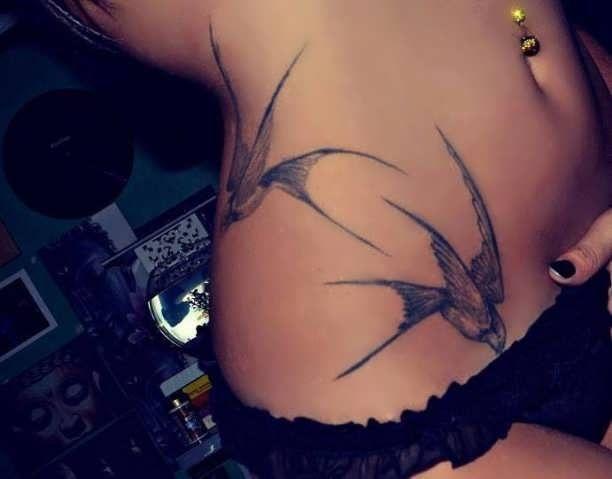 Swallows Tattoo Abdomen Hip  - http://tattootodesign.com/swallows-tattoo-abdomen-hip/  |  #Tattoo, #Tattooed, #Tattoos