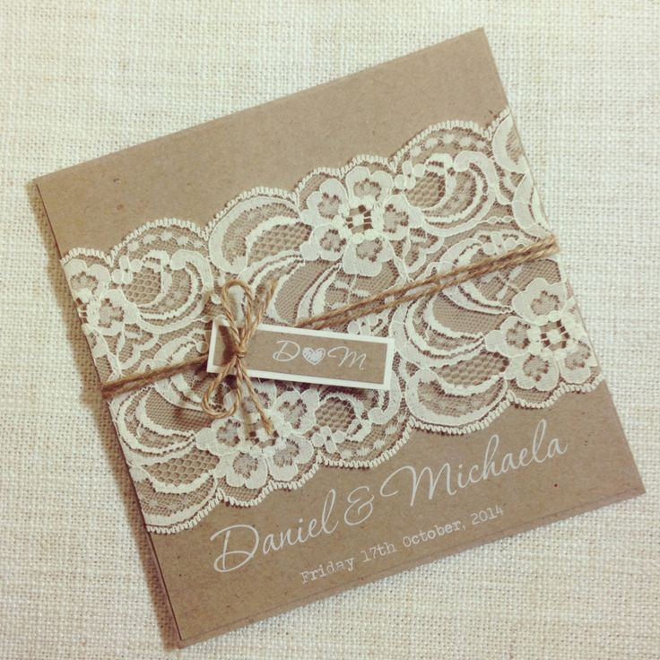 Rustic Wedding Invitation WHITE INK - Rustic Vintage Lace Square Invitation SAMPLE (10.00 AUD) by StunningStationery