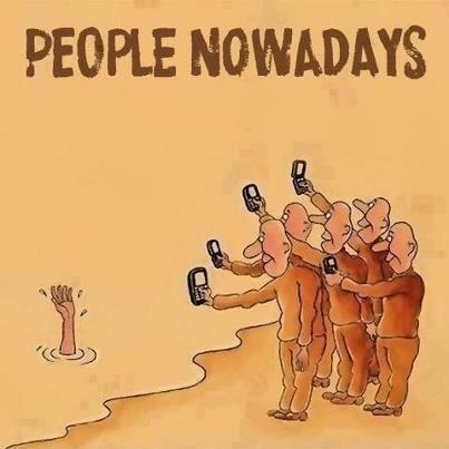 People nowadays are quicker to share something on the internet then to actually share something with another person. This image depicts the sad truth of modern society. The invention of smartphones has stolen our humanity and replaced it with followers. Because of this, social media addicts would sooner film a tragedy then do anything about it. it is amazing that anything can be documented, but at what cost?