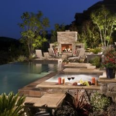 I'd be happy with this back yard!: Ideas, Outdoor Living, Dream House, Backyard, Fireplace, Outdoor Spaces, Pools, Design