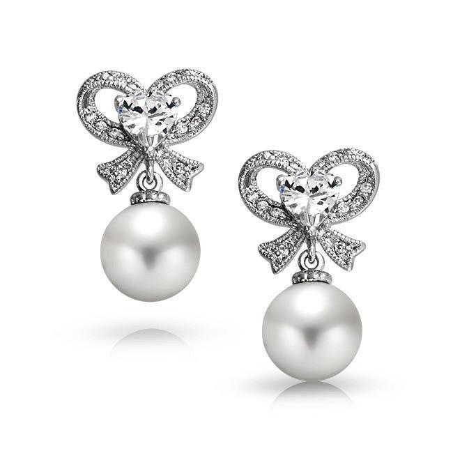 Boucle d'oreille coeur et perle