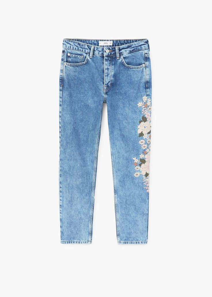 Embroidered relaxed spring jeans   MANGO