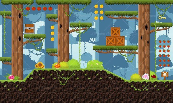 Rainforest - Platformer Tileset - Game Art 2D