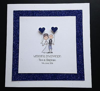 Handmade Personalised Wedding Day/Evening Invitations Bride Groom Kilt Scottish