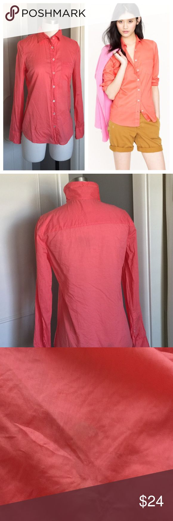 "J. Crew Indian voile boy shirt Beautiful J.Crew Indian voile boy shirt. Bust 16"". Length roughly 23 1/2"". Small spot located on the right shoulder blade, could potentially be removed with a tide pen (please see photos). Overall good condition. Purchased from a J. Crew retail store. No trades please. J. Crew Tops Button Down Shirts"