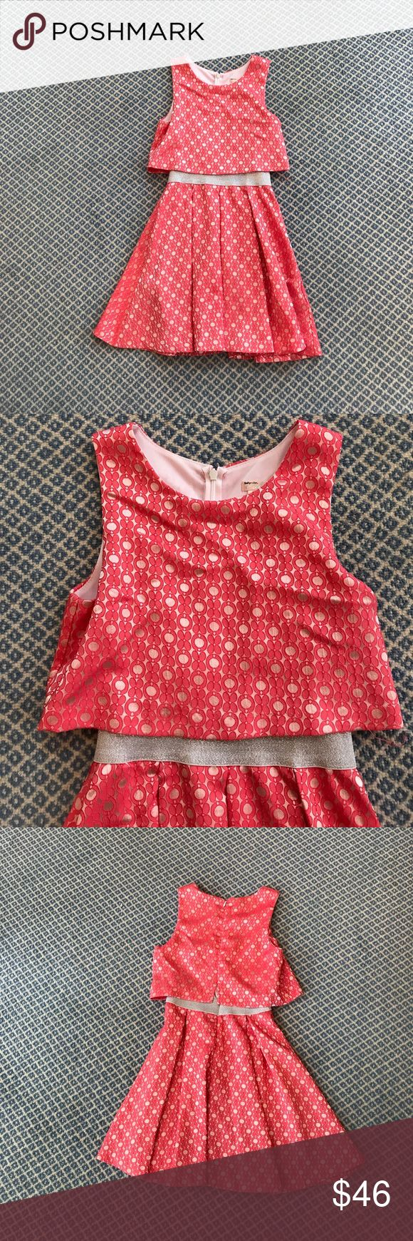 Sally Miller Couture Girls Dress Size 10M. Sally Miller Dress Coral Colored with Silver Waist Band and a Flower Pattern. Has linen and is in great condition. Sally Miller Dresses Formal