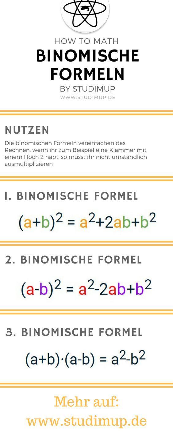 Die Binomischen Formeln leicht erklärt. Mathe lernen leicht gemacht. Mathematik lernen im Gymnasium und der Realschule.