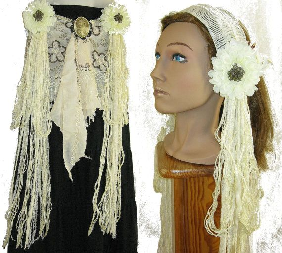 """Belly Dance Vintage HIP & HAIR TASSELS """"Flora Deluxe"""" Faery fae fantasy yarn falls Tribal Fusion accessory garb Hair jewelry extensions"""