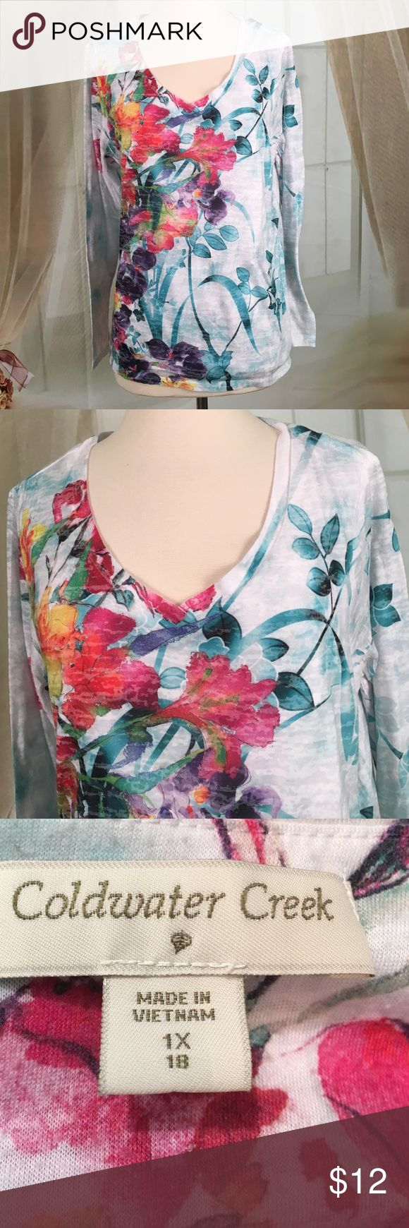 "Coldwater Creek Floral Long Sleeved Top Very nice floral long sleeve top. Fully lined. 76% polyester and 24% cotton. Great condition. Size 1X.  Bust 42 and length 25"".  Reasonable offers welcomed.  TP21 Coldwater Creek Tops"