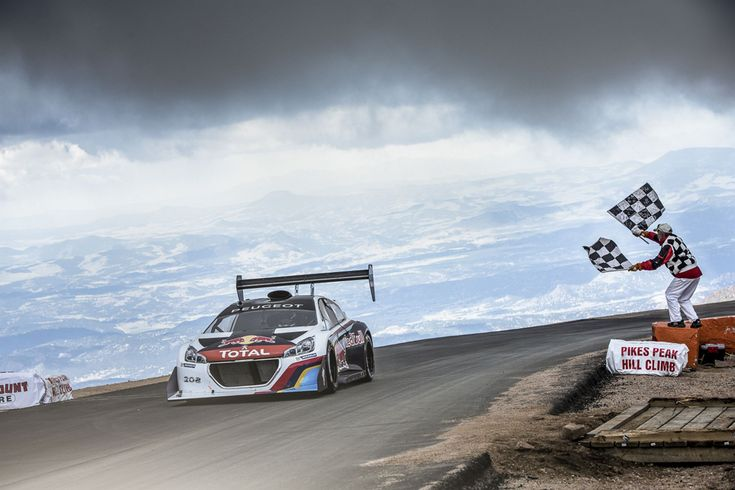The Peugeot 208 T16 Pikes Peak car was driven to success by nine-times World Rally Champion Sébastien Loeb to convincingly win the 91st Pikes Peak International Hill Climb with a stunning time of just 8 minutes, 13.878 seconds over its 12.42 mile course that includes 156 turns
