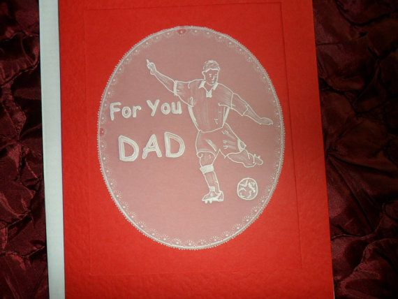Football Player. Handmade  Card  Parchment by Craftsbylindyloo