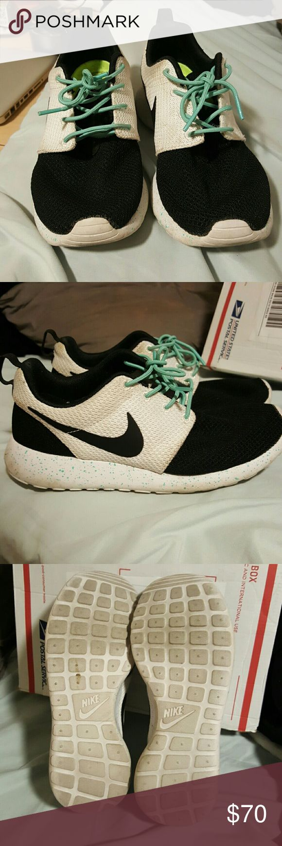 Gently used Customized roshe runs Gently used Customized roshe runs, black and white with Tiffany blue round laces and splatter detailing. Great shoes, I just never find myself wearing them anymore! Offers and questions welcome! Nike Shoes Athletic Shoes