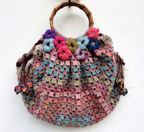 Bohemian crochet bag with flowers Liberty by Eclecticgipsyland