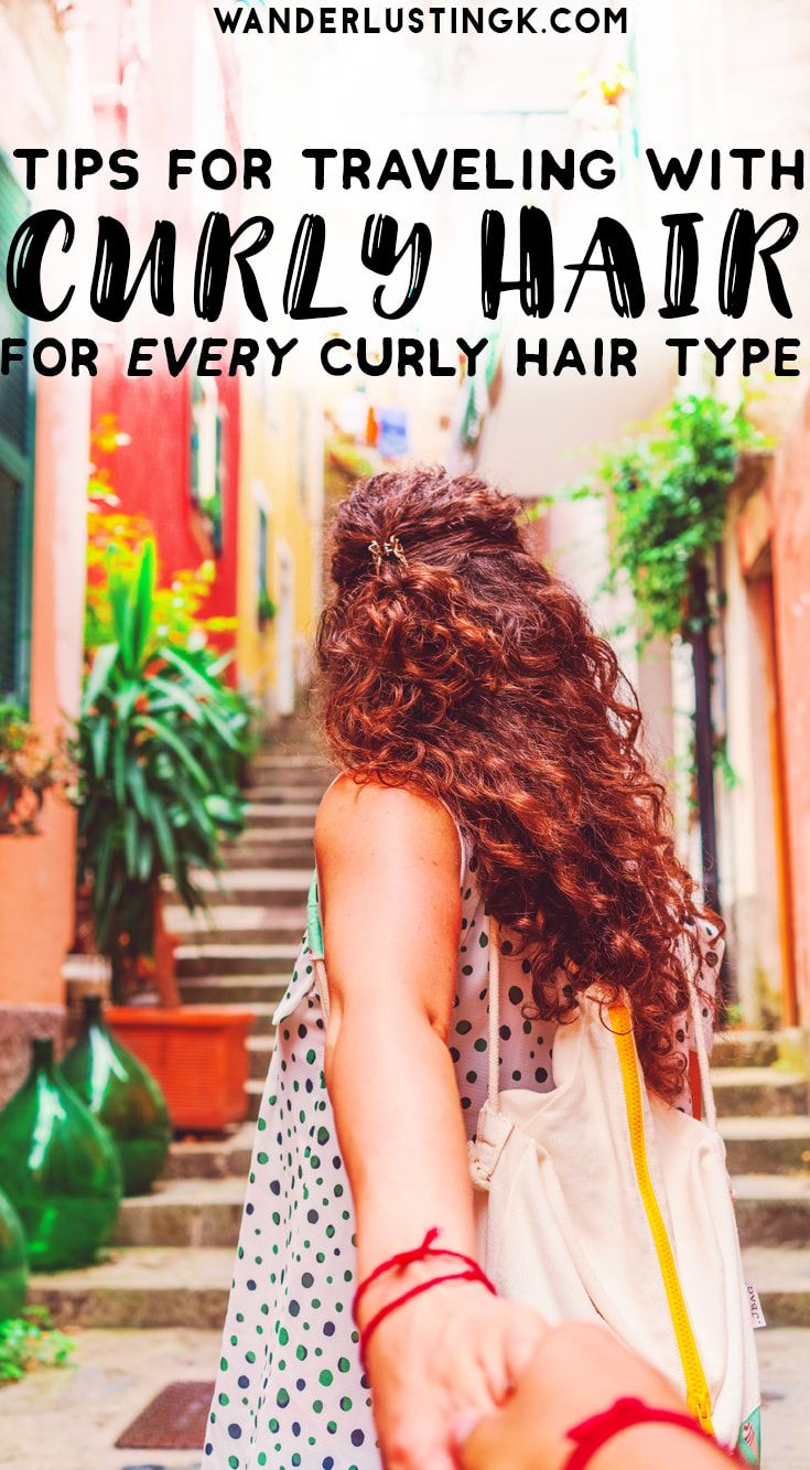 Travel beauty tips for traveling with curly hair, travel beauty essentials & best travel products for curly hair for all types. #CurlyHair #Travel #Beauty