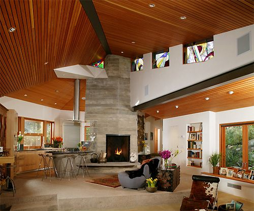 Wood Roof: Living Rooms, Wood Projects,  Eating House, Cranes General,  Eateri, Interiors Spaces, Eating Houses, Contemporary Families Rooms, Stained Glass