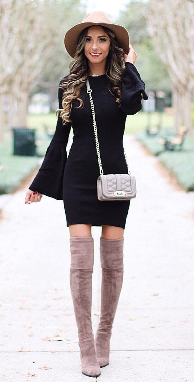 #winter #outfits women's black long-sleeved dress. Click To Shop This Look.