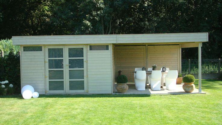 Een modern design tuinhuis met plat dak gemaakt door nowak