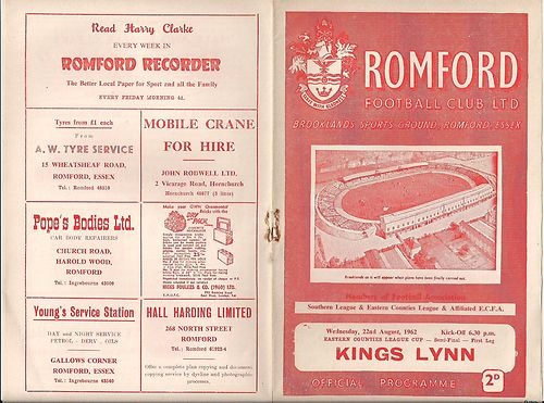 Away to Romford FC  22nd August 1962   ECL Cup Semi-Final 1st Leg