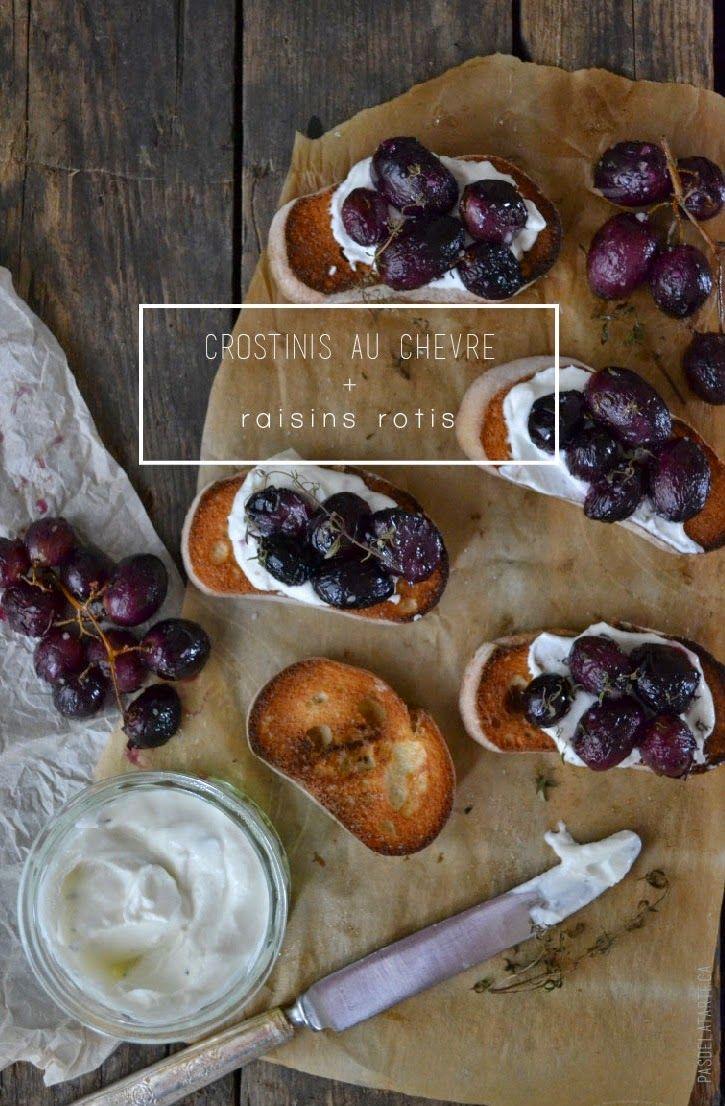 Wow Factor Appetizer : Roasted Grapes and Goat Cheese Mousse Crostinis | Crostinis à la Mousse de Fromage de Chèvre et Raisins Rôtis — PasDeLaTarte.Ca