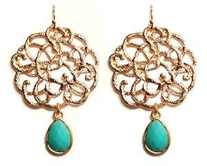 St Barts Faux Turquoise Goldtone Earrings Maggie T New York