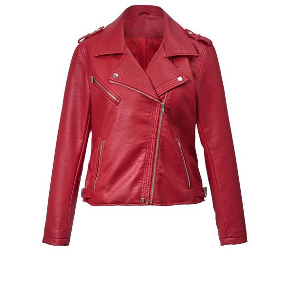 Lederimitat-Jacke im Biker-Stil rot