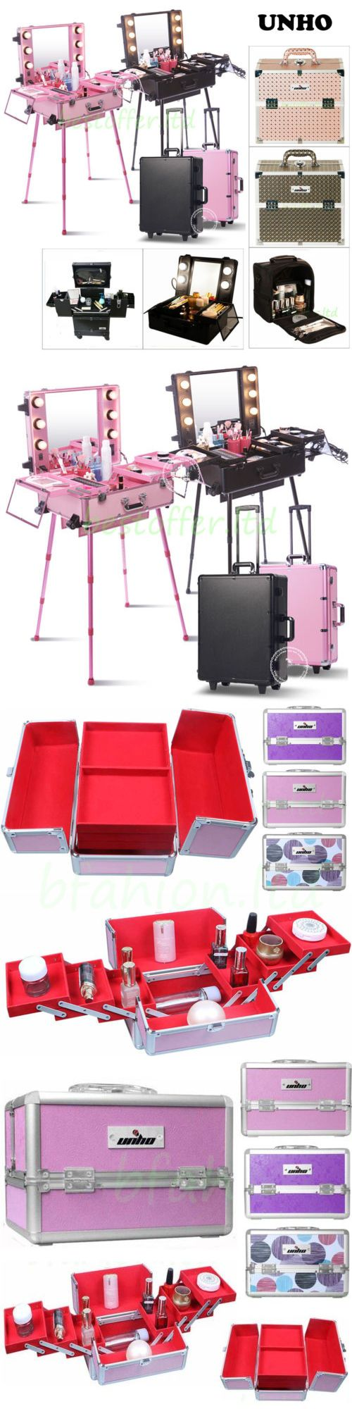 Makeup Bags and Cases: Studio Lighted Wheeled Rolling Makeup Case And Portable Cosmetic Train Case Box BUY IT NOW ONLY: $139.96
